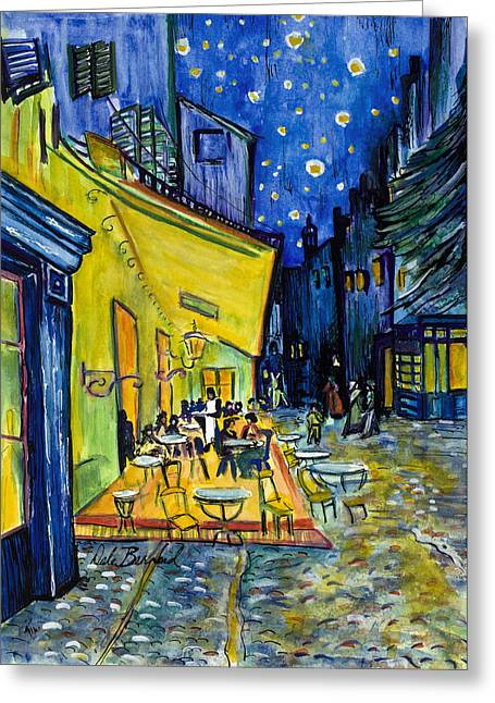 Cafe Terrace At Night Greeting Card by Dale Bernard