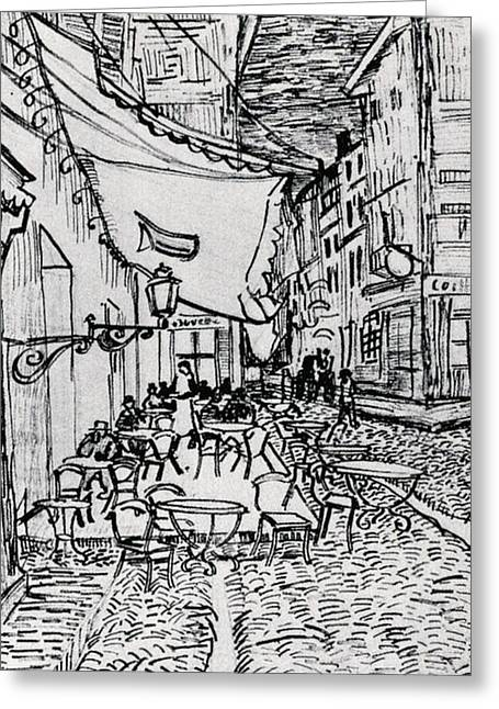Table And Chairs Drawings Greeting Cards - Cafe Terrace at Night - Drawing Greeting Card by Vincent van Gogh