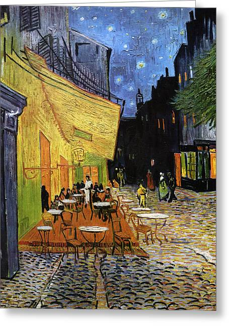 Night Cafe Mixed Media Greeting Cards - Cafe Terrace at Night Reproduction Art Work Greeting Card by Vincent van Gogh