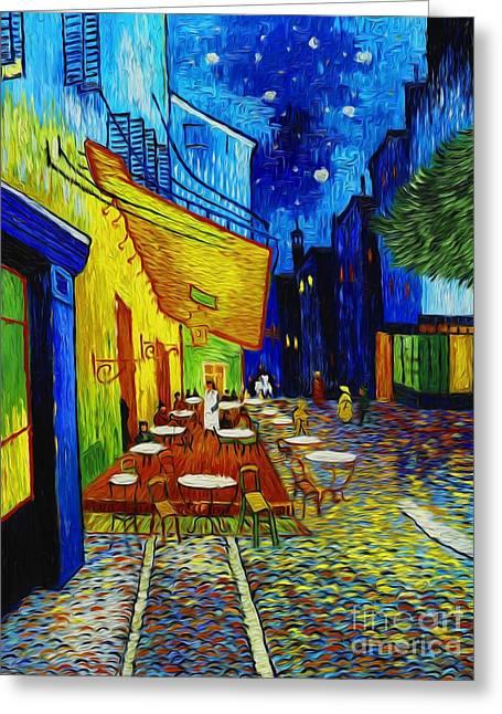 Night Cafe Digital Art Greeting Cards - Cafe Terrace at Night Greeting Card by Robert Roberts
