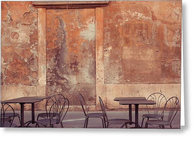 Espressos Conversing Greeting Cards - Cafe Terrace in Rome Greeting Card by Maren Misner