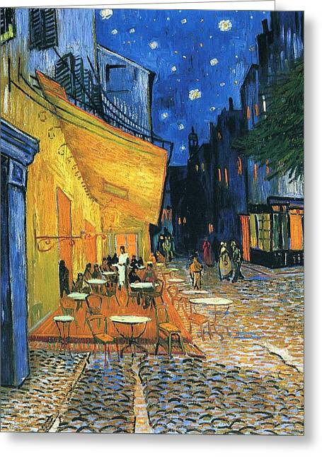 Night Cafe Greeting Cards - Cafe Terrace Place du Forum Arles 1888 Greeting Card by Vincent Van Gogh
