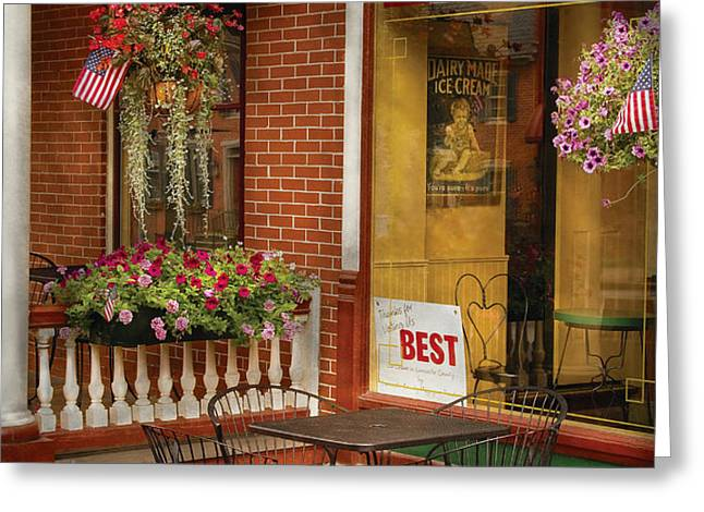 Cafe - The Best ice cream in Lancaster Greeting Card by Mike Savad