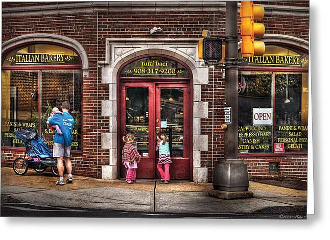 Italian Restaurant Greeting Cards - Cafe - The Italian Bakery Greeting Card by Mike Savad