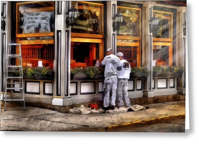 Vintage Painter Greeting Cards - Cafe - The Painters Greeting Card by Mike Savad