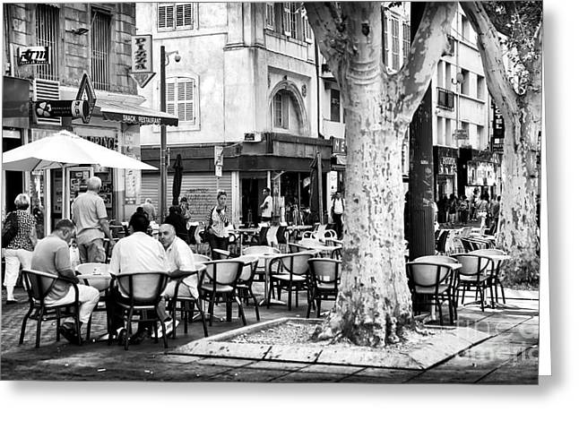 Azur Greeting Cards - Cafe Time in Marseille Greeting Card by John Rizzuto