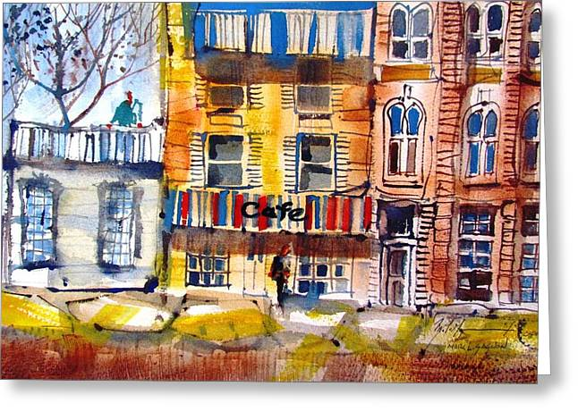 Purple Awnings Greeting Cards - Cafe Time - Port Hope Greeting Card by Marc L Gagnon