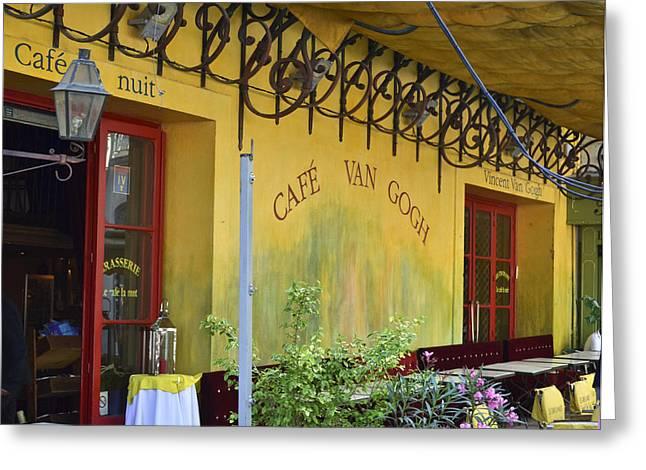 Cafe Van Gogh Greeting Card by Allen Sheffield
