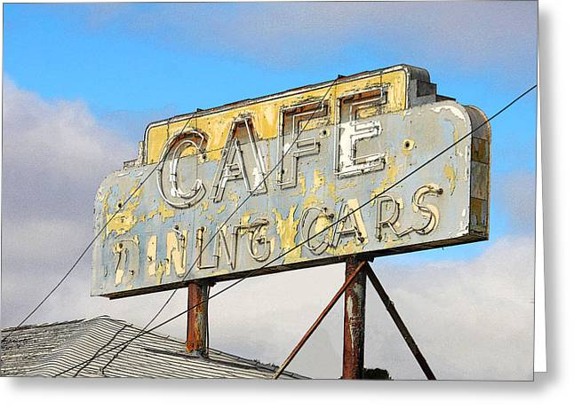 California Art Greeting Cards - Cafe With Dining Cars Greeting Card by Art Block Collections