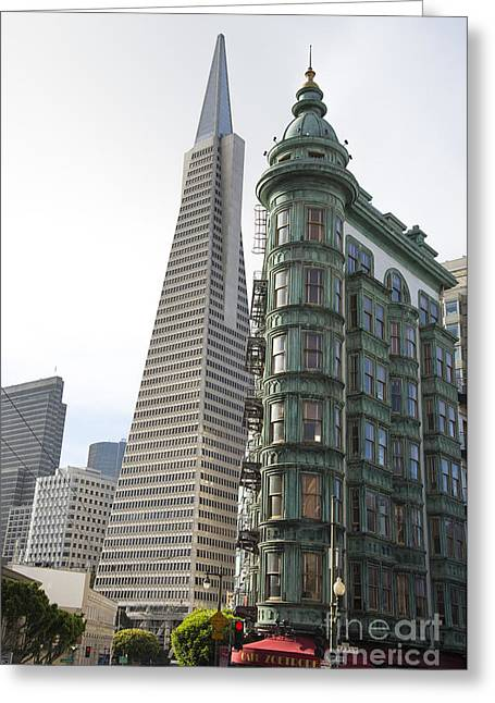 Francis Ford Coppola Greeting Cards - Cafe Zoetrope and Transamerica Bldg Greeting Card by David Bearden