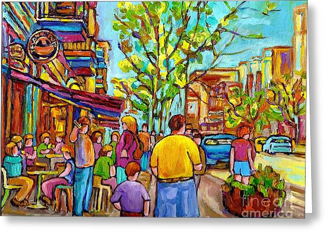 Montreal Bistros Greeting Cards - Cafes In Springtime Greeting Card by Carole Spandau