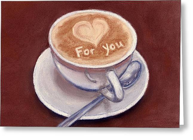 Gift Pastels Greeting Cards - Caffe Latte Greeting Card by Anastasiya Malakhova