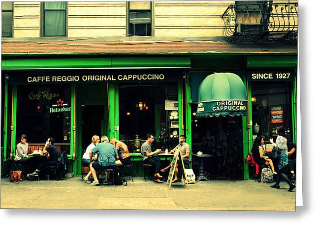 Italian Cafe Greeting Cards - Caffe Reggio Scene Greeting Card by Jessica Jenney