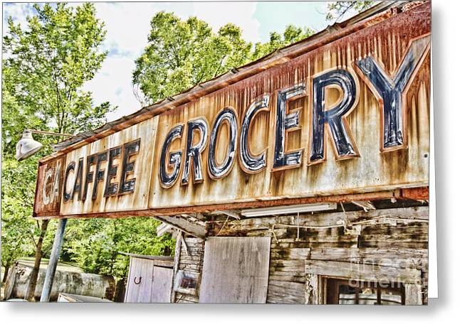 Caffee Grocery Greeting Card by Scott Pellegrin