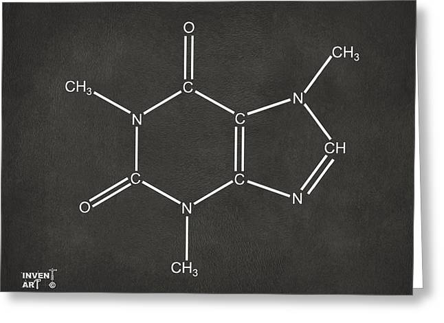 Molecular Greeting Cards - Caffeine Molecular Structure Gray Greeting Card by Nikki Marie Smith
