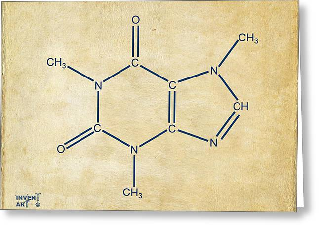 Molecular Greeting Cards - Caffeine Molecular Structure Vintage Greeting Card by Nikki Marie Smith
