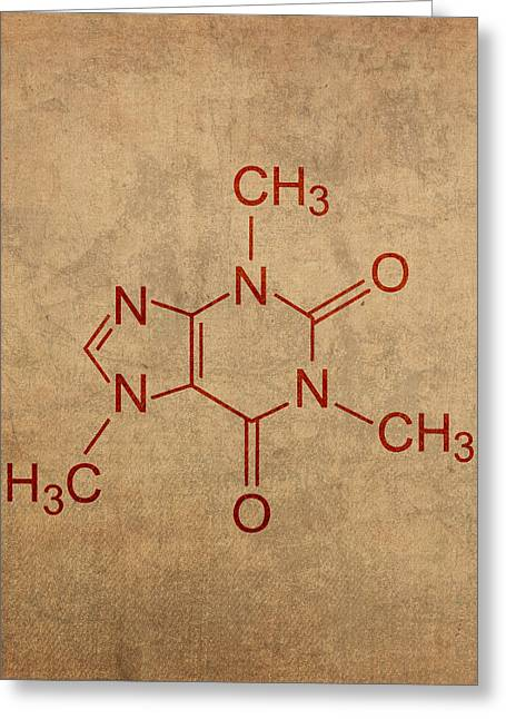 Fanatic Greeting Cards - Caffeine Molecule Coffee Fanatic Humor Art Poster Greeting Card by Design Turnpike
