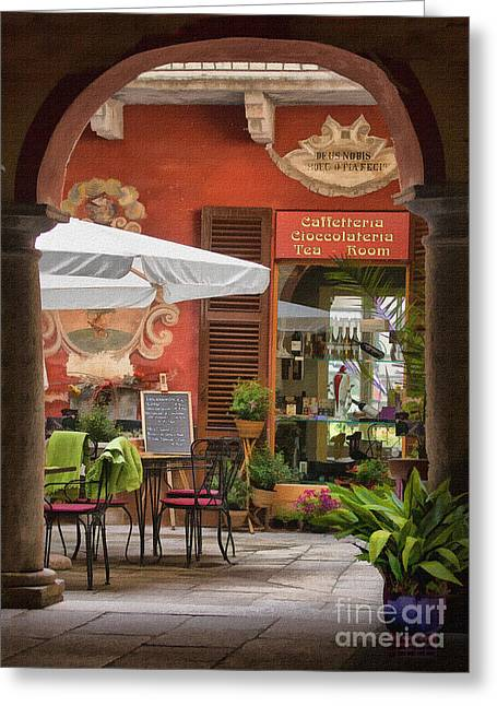 Italian Restaurant Greeting Cards - Caffeteria Orta San Guilio Greeting Card by Sharon Foster