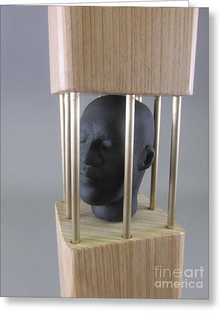 George Sculptures Greeting Cards - Caged Greeting Card by Anthony George