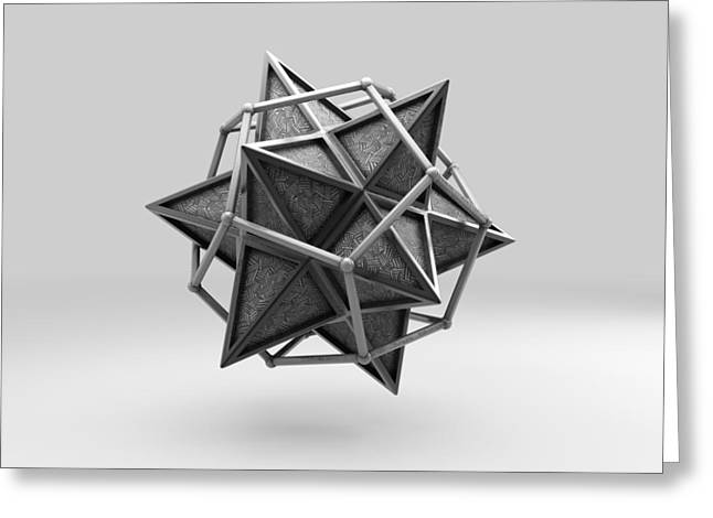 Dodecahedron Greeting Cards - Caged Stellated Dodecahedron Greeting Card by Par Thorbjornsson