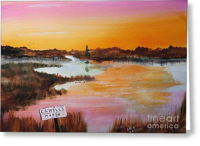 Cahills Marsh Greeting Card by Jack G  Brauer