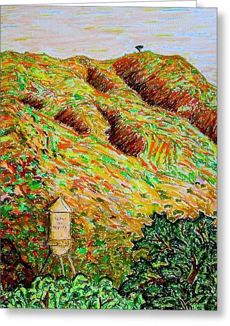 Los Angeles Pastels Greeting Cards - Cahuenga Peak Warner Bros tower California painting Greeting Card by David Olson
