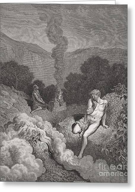Billowing Greeting Cards - Cain and Abel Offering Their Sacrifices Greeting Card by Gustave Dore