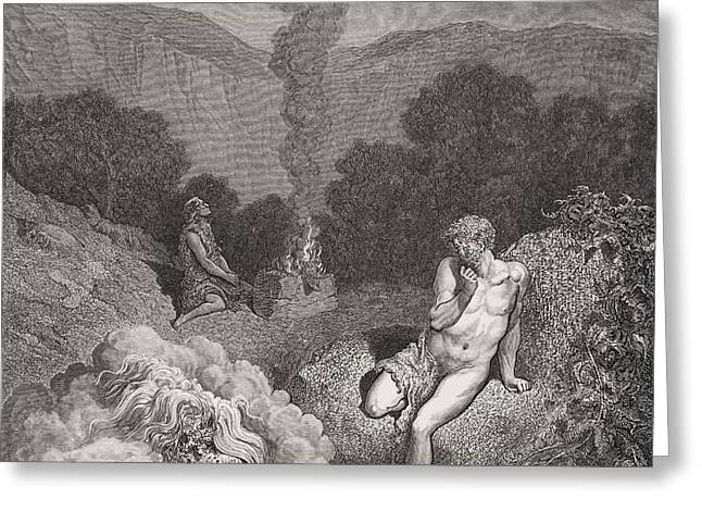 Cain and Abel Offering Their Sacrifices Greeting Card by Gustave Dore