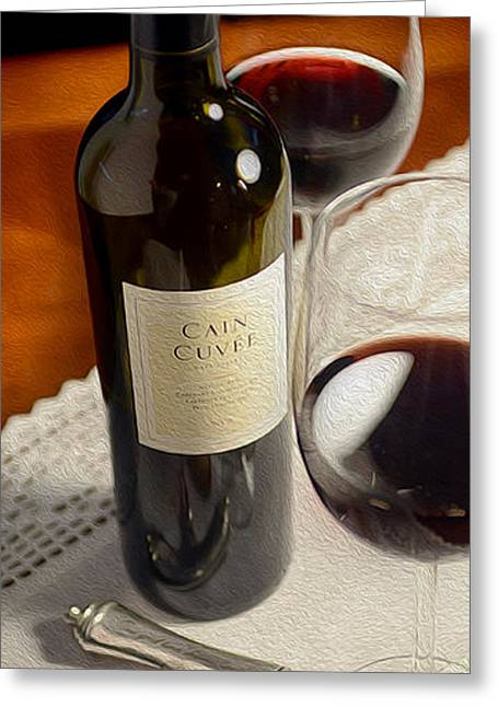 Red Wine Bottle Mixed Media Greeting Cards - Cain Cuvee Painting Greeting Card by Jon Neidert