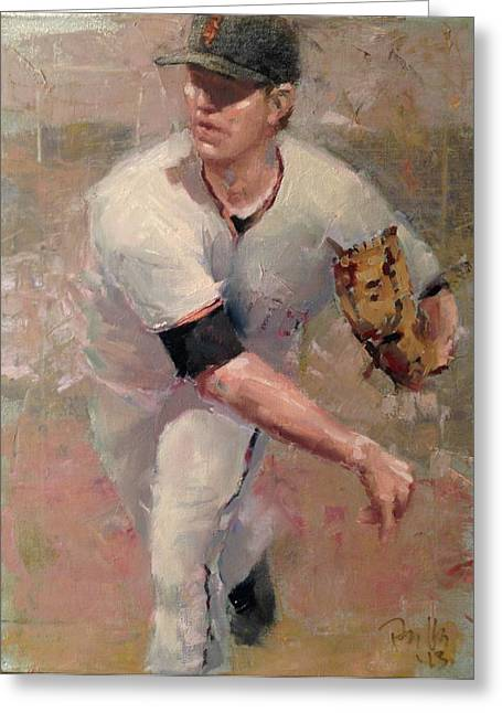 Baseball Paintings Greeting Cards - Cain Delivery Greeting Card by Darren Kerr