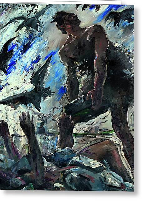 Cain Greeting Cards - Cain Greeting Card by Lovis Corinth