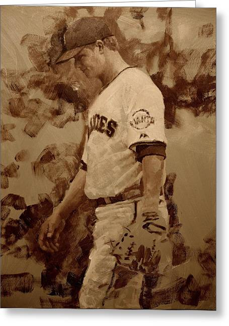 Baseball Paintings Greeting Cards - Cain Walk Greeting Card by Darren Kerr