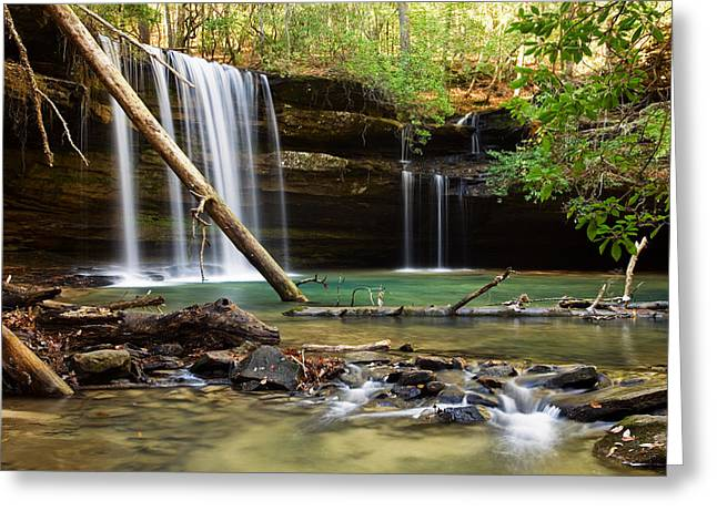Alabama Pyrography Greeting Cards - Cainey Creek Falls Greeting Card by Scott Moore