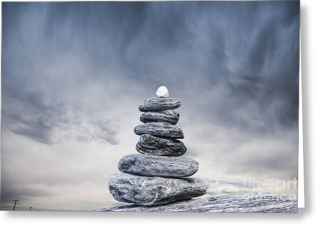 Climate Change Greeting Cards - Cairn and Stormy Sky Greeting Card by Colin and Linda McKie