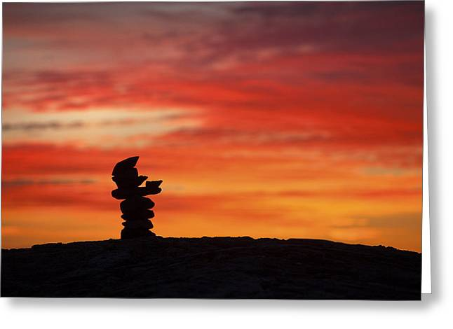 Maine Beach Greeting Cards - Cairn at Sunrise Greeting Card by Eric Gendron