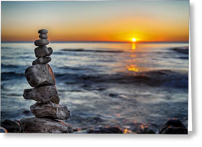 Flares Greeting Cards - Cairn at Sunrise Greeting Card by Scott Norris