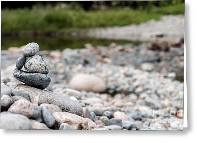 Maine Shore Greeting Cards - Cairn Greeting Card by David Rucker