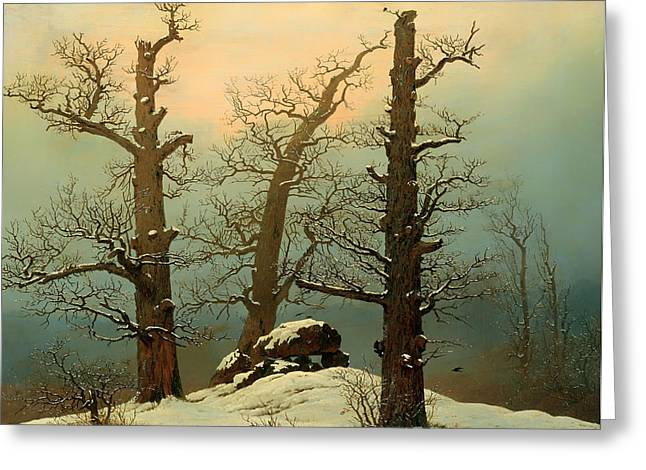 Haze Paintings Greeting Cards - Cairn in Snow Greeting Card by Caspar Friedrich