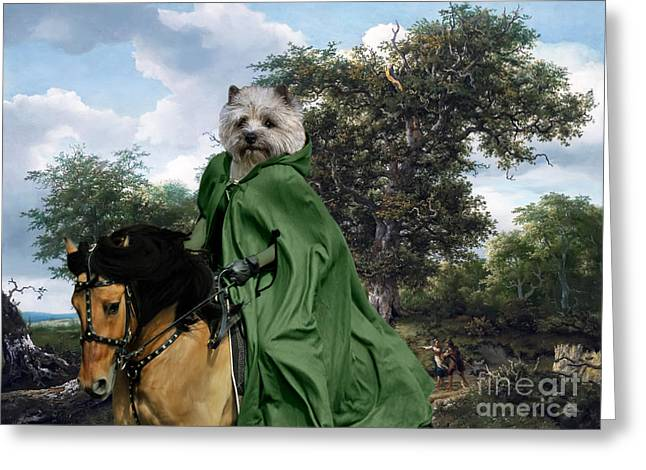 Cairn Terrier Greeting Cards - Cairn Terrier Art - The Great Oak Greeting Card by Sandra Sij