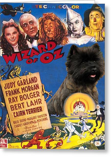 Cairn Terrier Greeting Cards - Cairn Terrier Art Canvas Print - The Wizard of Oz Movie Poster Greeting Card by Sandra Sij