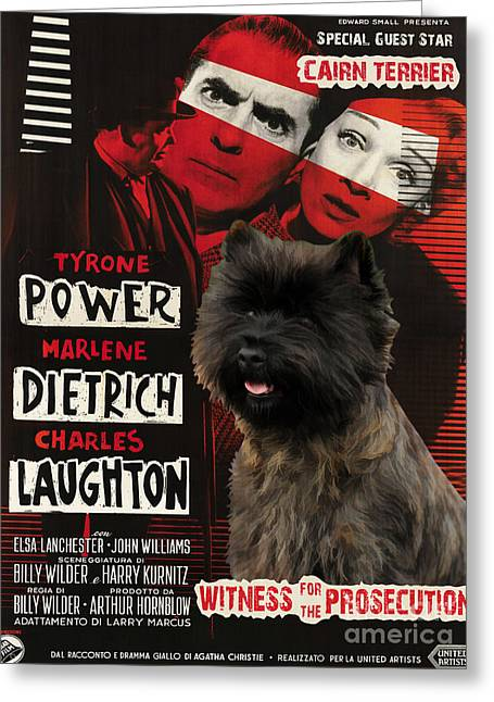 Cairn Terrier Greeting Cards - Cairn Terrier Art Canvas Print - Witness for the Prosecution Movie Poster Greeting Card by Sandra Sij