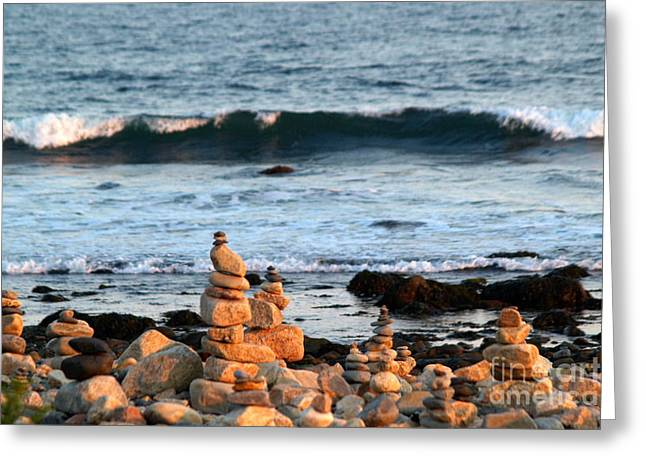 Monolith Greeting Cards - Cairns and Surf at Point Judith Greeting Card by Anna Lisa Yoder