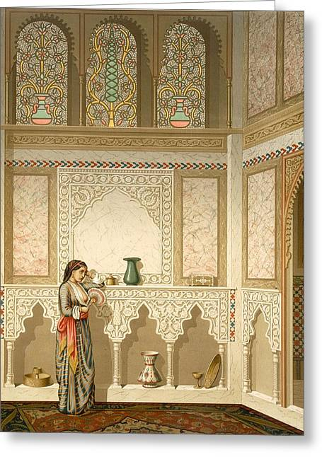 Insides Greeting Cards - Cairo Interior Of The Domestic House Greeting Card by Emile Prisse d