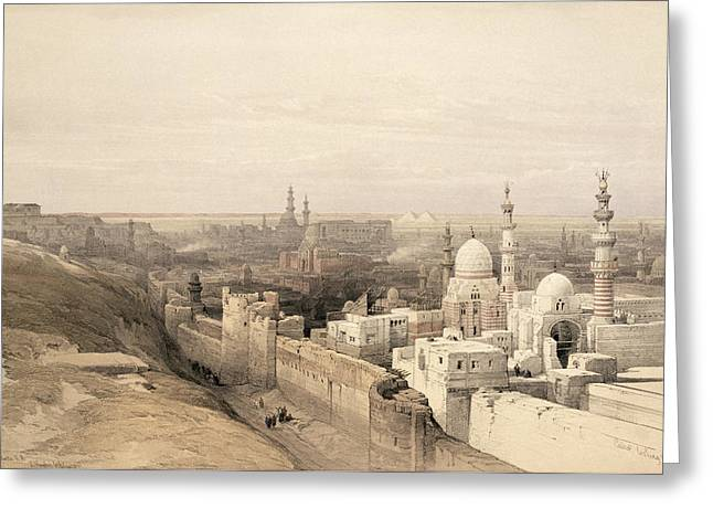 Pyramids Greeting Cards - Cairo Looking West, From Egypt Greeting Card by David Roberts