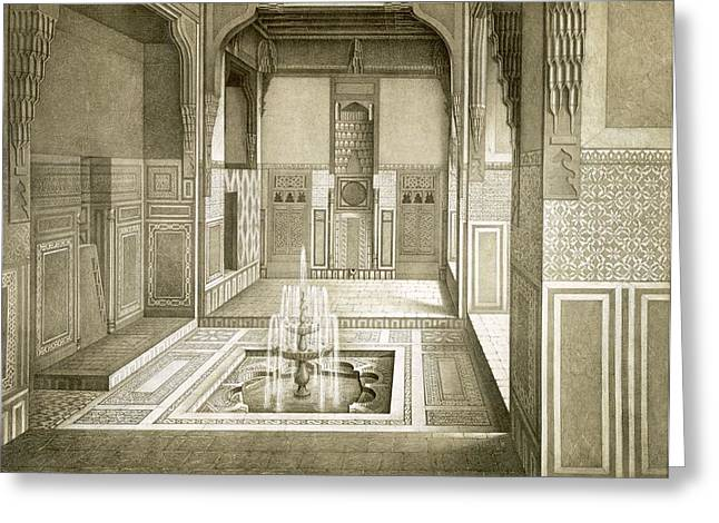 Cairo Mandarah Reception Room, Ground Greeting Card by Emile Prisse d'Avennes