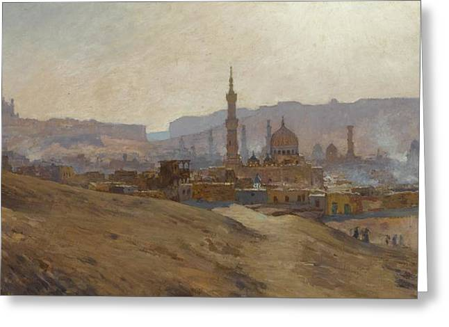 Cairo Mist Dust And Fumes Evening Greeting Card by Etienne Dinet