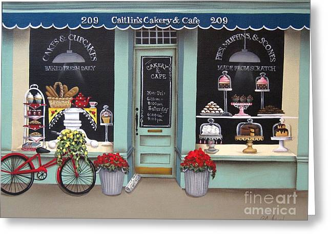 Caitlin's Cakery And Cafe Greeting Card by Catherine Holman