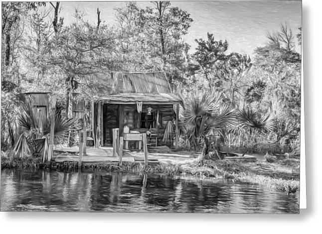 Water Jug Greeting Cards - Cajun Cabin - Paint bw Greeting Card by Steve Harrington