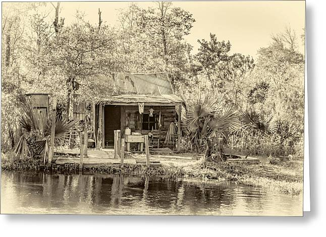 Water Jug Greeting Cards - Cajun Cabin - Sepia Greeting Card by Steve Harrington