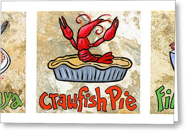 Gumbo Greeting Cards - Cajun Food Trio White Border Greeting Card by Elaine Hodges